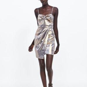 NWT, ZARA Strappy Golden Dress